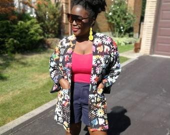Multicoloured Kimono, women's fashion, boho top, Kimono with pockets, dashiki style top, summer fashion, for her, spring, fashion
