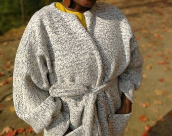 Grey & White Duster Coat with Patch Pockets, Fall Fashion, Fall Coat, For her, Women's wear, Grey and White, Wool Coat, Duster Coat