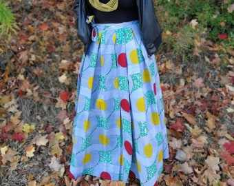 Long Wrap Multi Colour Wax Print Maxi Skirt/ for her/ womens fashion/summer wear/for her/wrap skirt/fashion/African print/street style/long