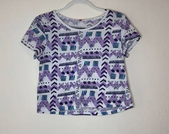 Purple and White Patterned Crop Top