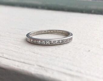 055a28974b7 Tiffany and Co Platinum Diamond Wedding Band dated 1946 size 5.5
