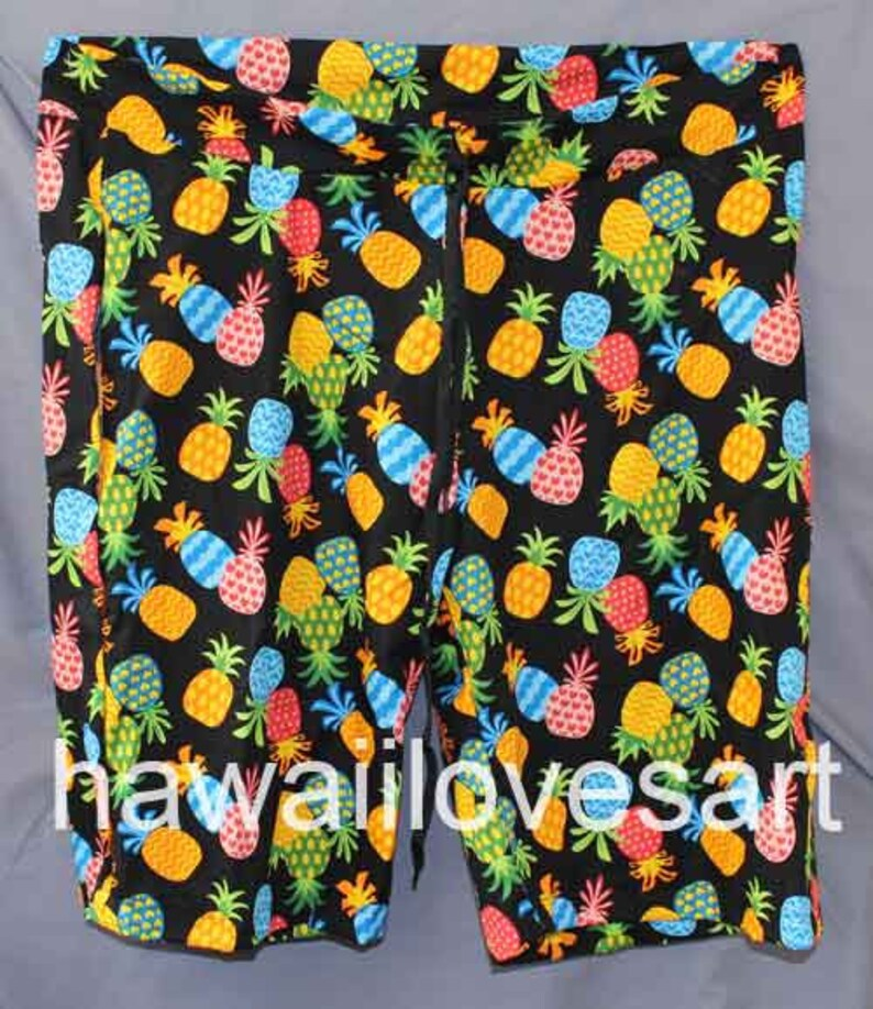 888d89be6a Pineapples mens board shorts, draw string waist, side pockets, custom shorts