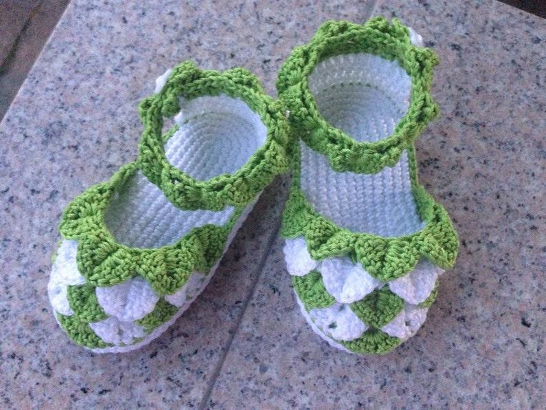 c7fa4c6ee0ec8 Crochet baby sandals, handmade baby girl shoes, baby girl sandals