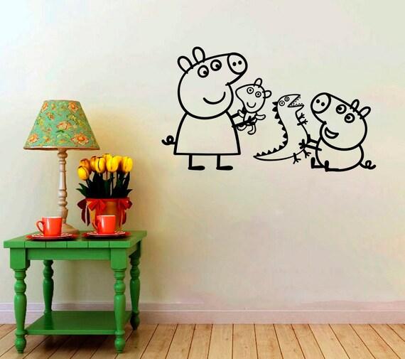 Cartoon Baby Girls Decorative Sticker Peppa Pig And George