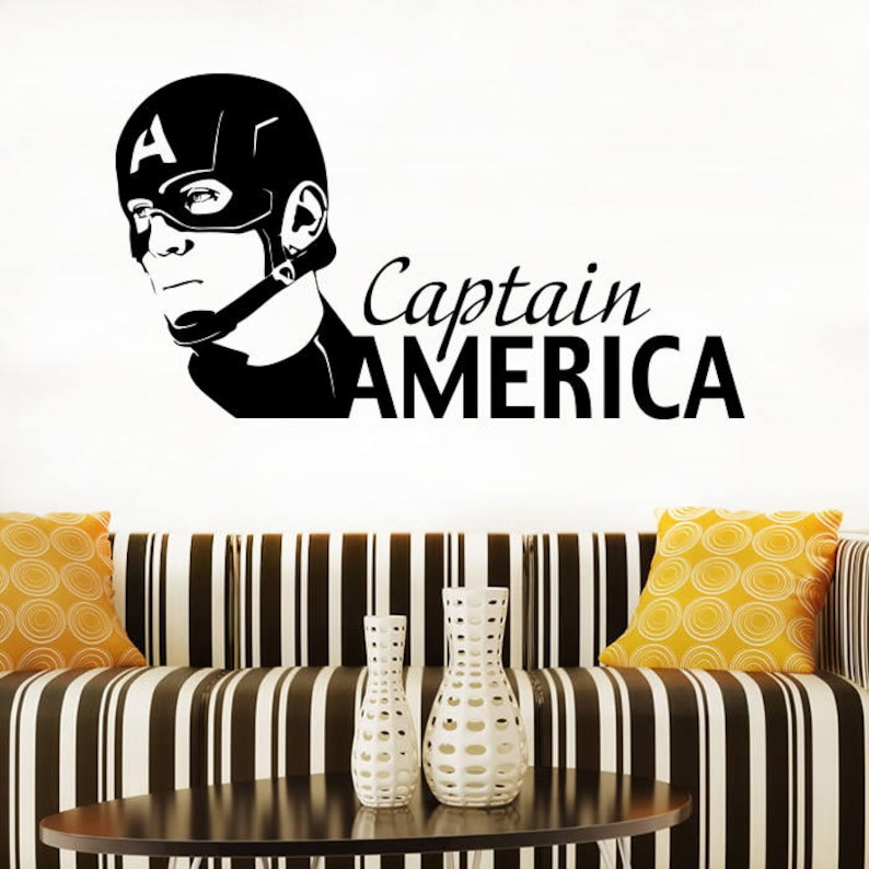 2cpaa Captain America Wall Design Avenger Animated Silhouette Comics Interior Wall Decor Boy/'s Room Decals Vinyl Sticker