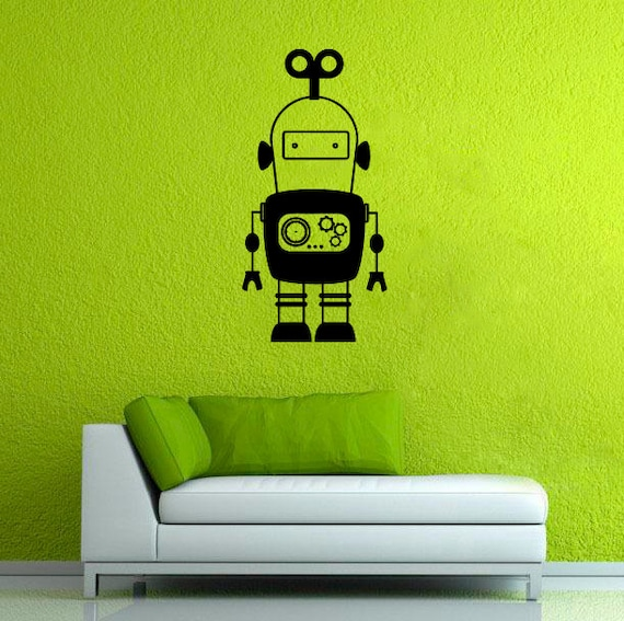 robot wall sticker droid vinyl decal space robot wall decor | etsy