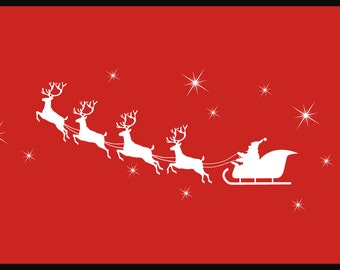 Santa Sleigh with Reindeer Wall Decal, Christmas Wall Decal, Holiday Wall Decal,SALE