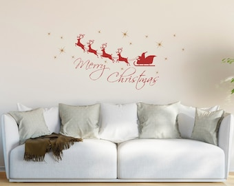 Merry Christmas Wall Decal, Merry Christmas Santa Sleigh Wall Decal, Holiday Wall Decal,SALE