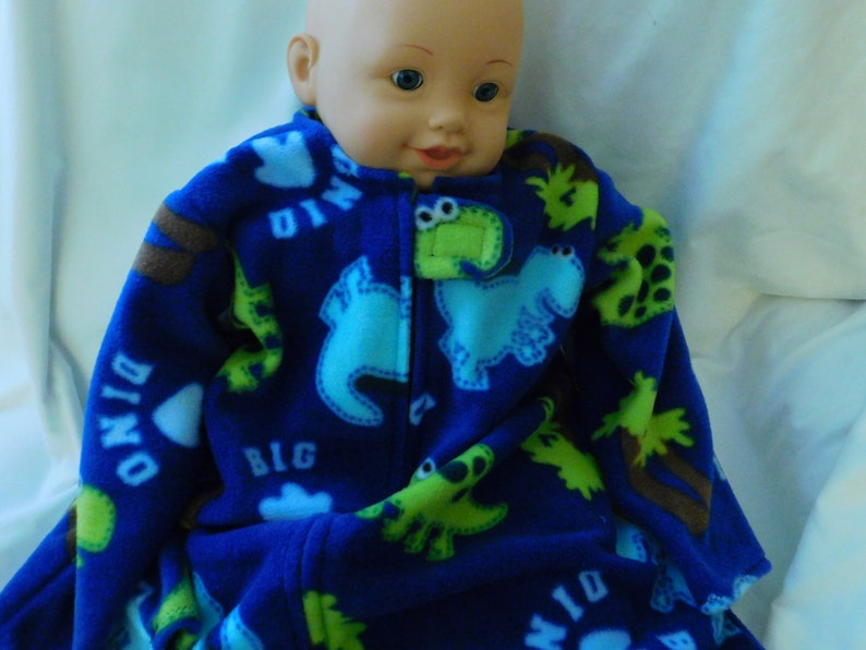 quality design 2cf43 9070f BABY FLEECE SLEEP Sack -- Dinosaurs on navy fleece -- with or without  mittens - available in S,M, Large or X-Large