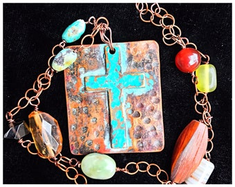 Cross Necklace   Boho Cross   Turquoise Copper and Brass Cross Pendant Necklace   Unique One-of-a-kind Chain Boho Necklace #carefreejewelry
