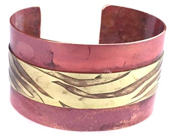 Copper Cuff Bracelet   Boho Cuff   Bronze Zebra Cuff Bracelet   Marsala Red Jewelry   Zebra Etched #carefreejewelry