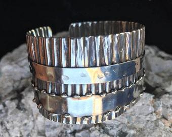 Silver Cuff Bracelet   Modern Boho Cuff    Silver Corrugated Ruffle Cuff Bracelet with Bands #carefreejewelry