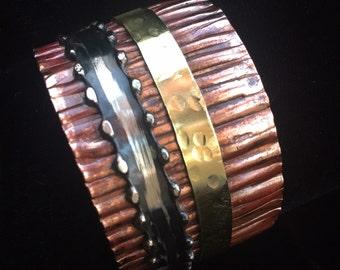 Copper Cuff Bracelet   Boho Cuff   Mixed Metal Corrugated Ruffle Cuff Bracelet   Brass Copper Silver #carefreejewelry