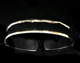 Cuff Bracelet   Modern Boho   Golden Brass Cuff Bracelet   Black Slim Cuff #carefreejewelry