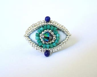 Silver ring embroidered cristal and lapis lazulli