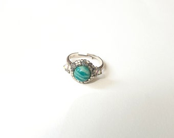 Amazonite ring and crystal