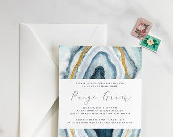 Watercolor, Agate Slice - Geode, Crystal - Modern - Bridal Shower Invitation - DEPOSIT for Print Order