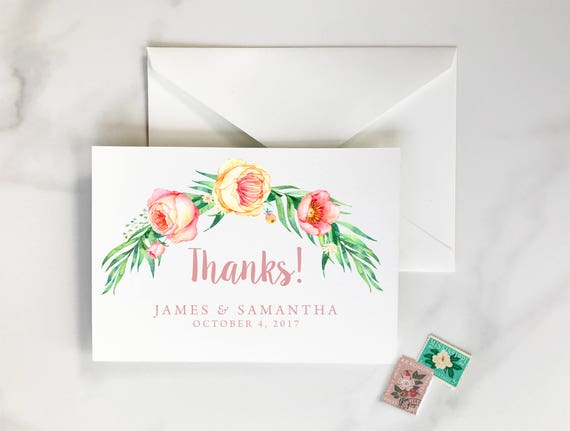floral thank you cards watercolor thank you cards watercolor etsy