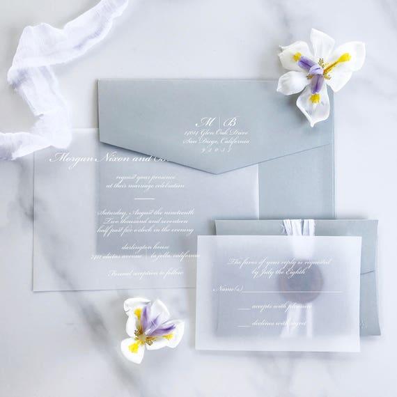 Vellum Wedding Invitation Vellum Invitation White Ink