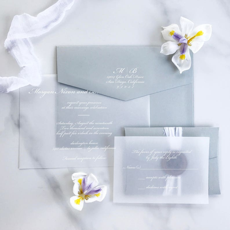 Vellum Wedding Invitation White Ink Elegant Transparent Paper