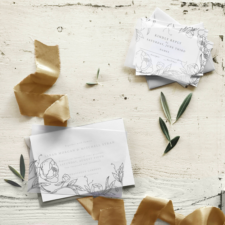 Vellum Wedding Invitation Floral Letterpress Invitation