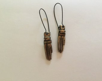 Amulet Hand Earrings in Bronze