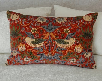 William Morris Strawberry Thief Dark Red Velvet Cushion Cover Double Sided