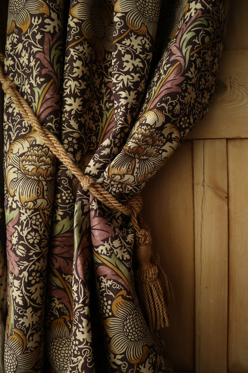 William Morris Kennet Portiere Door Curtain with Thick Velvet Lining 85