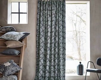 Morris & Co Bramble Curtains in Indigo and Mineral