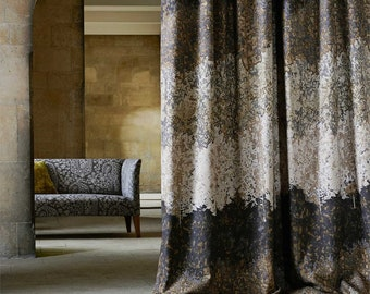 Zoffany Belvoir Abstract heavy linen Curtains Antique Bronze