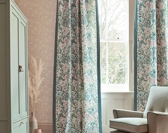 Morris & Co Wilhelmina Silk Lined Pair of Curtains Teal