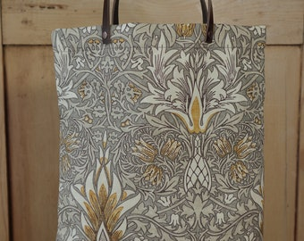 William Morris Leather handled Tote bag in Snakeshead