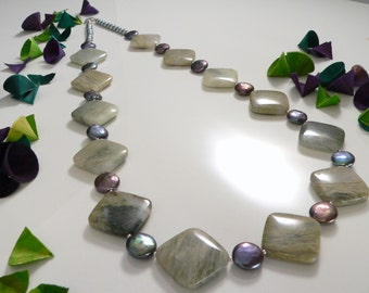 Natural Forest Jasper and Freshwater Pearls with Sterling Silver Findings.