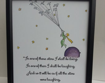 The Little Prince Quote and Watercolour Painting Hand Painted Antoine de Saint-Exupéry Birds Asteroid Rose  Children/Adult Book