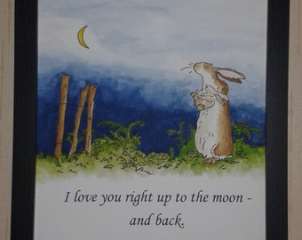 A4 Guess How Much I Love You Sam McBratney Anita Jeram Quote and Watercolour Hand Painted Love You to the Moon and Back