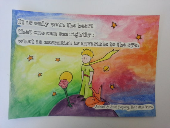 A4 The Little Prince Quote and Watercolour Painting Hand Painted Planet Rose Antoine de Saint-Exup\u00e9ry ChildrenAdult Book