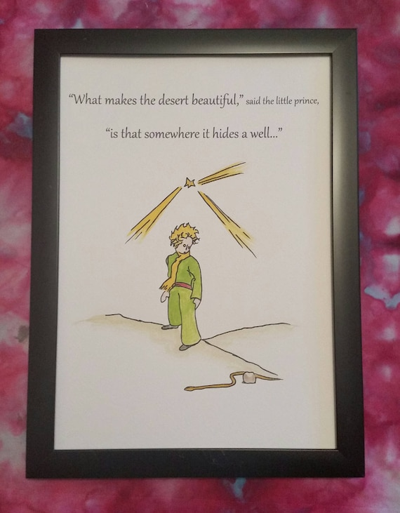 A4 The Little Prince Quote And Watercolour Painting Hand Etsy