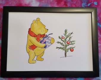 Hand Painted Watercolour A4 Winnie the Pooh Painting A. A. Milne Christmas Tree Gift
