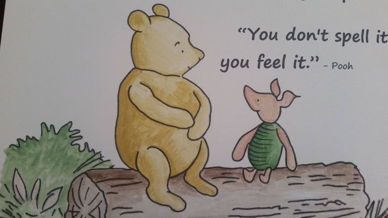 a4 winnie the pooh love quote and watercolour painting