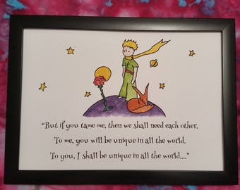 A4 The Little Prince Quote and Watercolour Painting Hand Painted Antoine de Saint-Exupéry Children/Adult Book Tame Fox