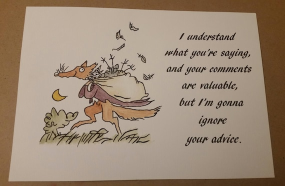 Fantastic Mr Fox Witty Quote Watercolour Painting Roald Dahl Etsy