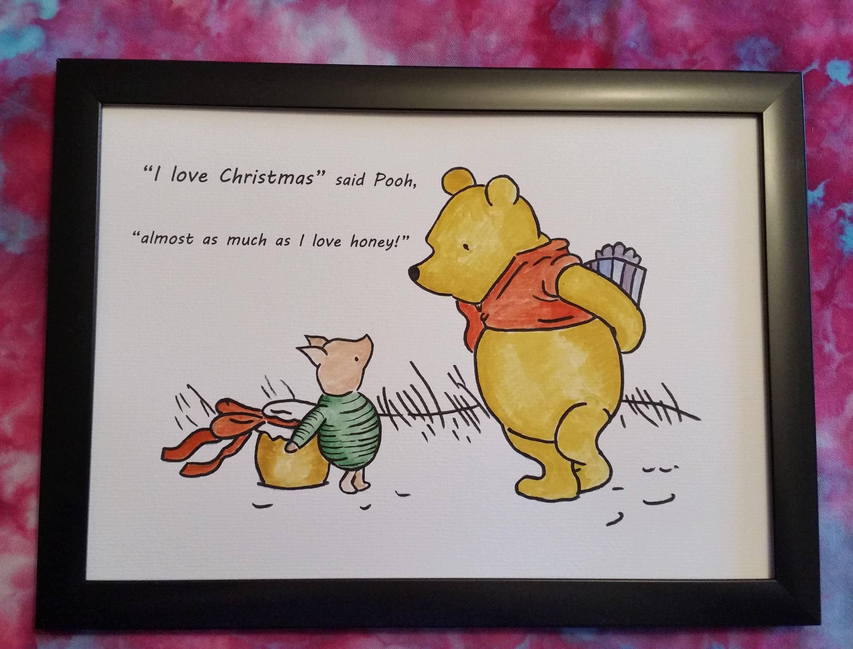 Hand bemalt Aquarell A4 Winnie der Pooh Malerei a.a | Etsy
