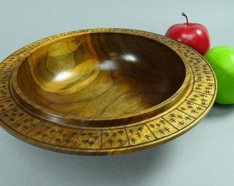 Black Walnut Winged Bowl with Burnt Pattern