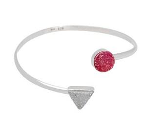 Druzy Bracelet, Sterling Silver Bangle, wrap bangle, white pink druzy, Adjustable Bracelet, druzy Jewelry, natural stones, handmade,modern,