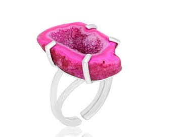 Pink Druzy Ring, statement ring, sterling silver, druzy jewelry, natural stone ring, gemstone ring, adjustable ring, geode ring,  modern