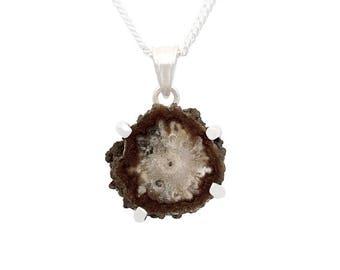 jasper pendant, jasper stalactite slice necklace, sterling silver, raw stone pendant, natural stalactite, jasper necklace, gift for her