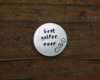 Best Golfer Ever Marker, Initials, Custom Golf Ball Marker, Hand Stamped, Pocket Token, Birthday Gift, Father's Day