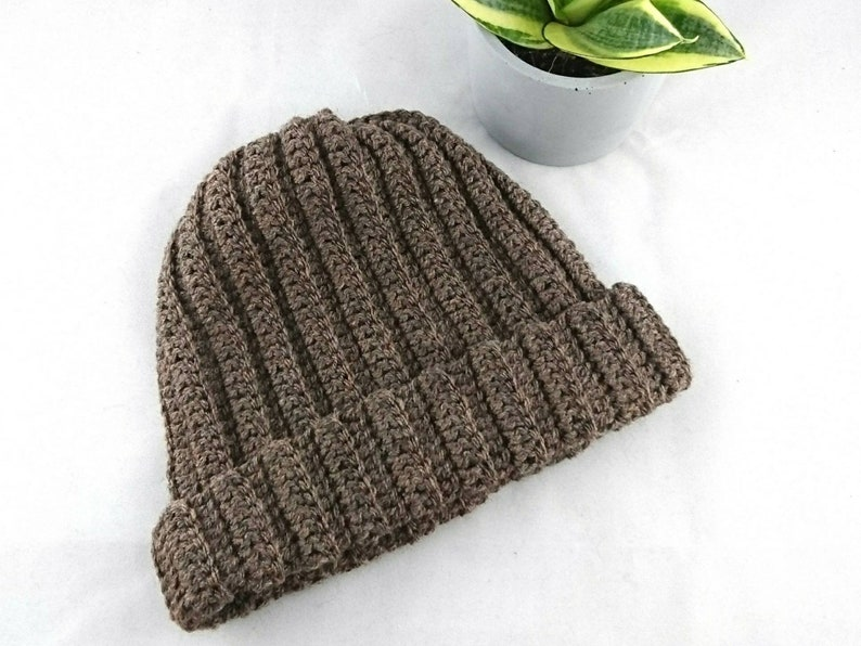 chunky crochet outerwear gifts for him Ribbed crochet beanie mens hat woolens winter hats father/'s day scull cap gifts for guys