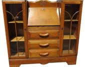 Vintage English Tiger Oak Drop Front Secretary With Side By Side Display Cabinets