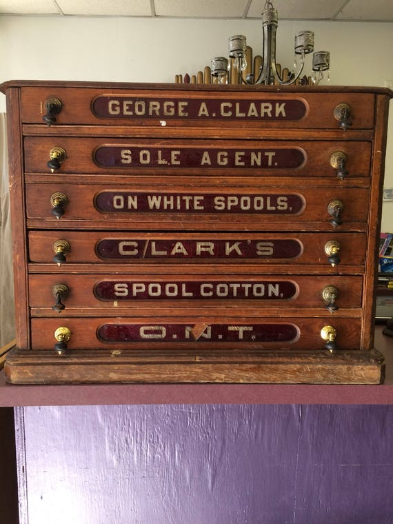 image 0 - Antique Clark's O.N.T. Spool Cotton 6 Drawer Spool Cabinet Etsy